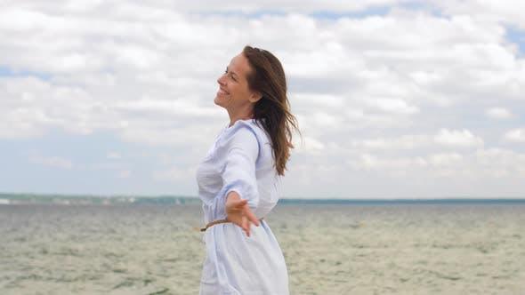 Thumbnail for Happy Smiling Woman Having Fun at Summer Beach 17