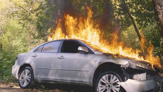 Thumbnail for Unrecognizable Firemen Saving Car From Fire