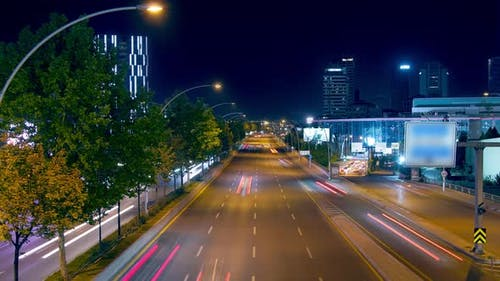 Night city center car traffic
