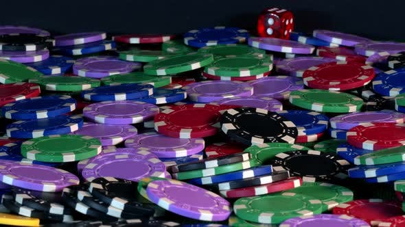 Gambling Money Chips And Red Dices 9
