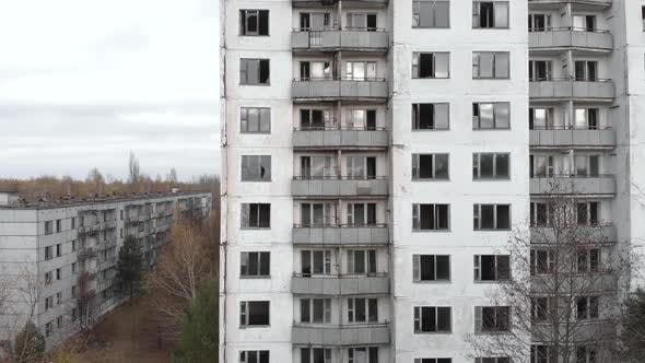Thumbnail for Chernobyl Exclusion Zone. Pripyat. Aerial. Abandoned City Building
