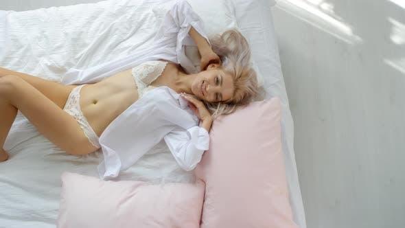 Thumbnail for Lovely Caucasian Girl Posing on Bed in Underwear