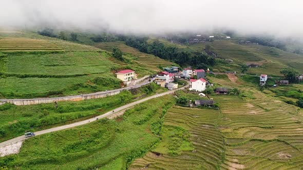 Thumbnail for Small Village in the Hill in Countryside with Rice Terracesroad and Greenery