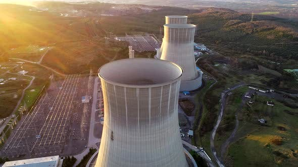 Natural Gas Power Plant At Sunset