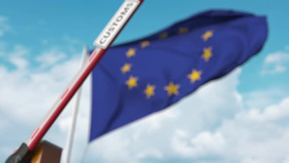 Thumbnail for Barrier Gate with CUSTOMS Sign Being Closed Near Flag of the EU