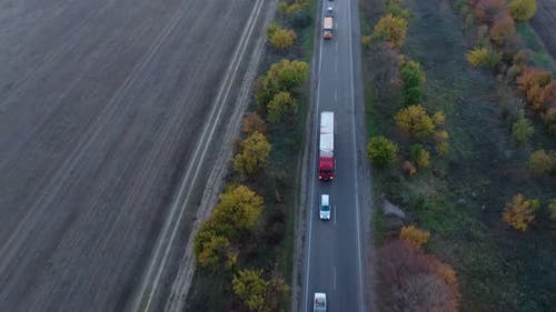 Aerial View of a Traffic Jam From Vehicles on a Country Way at Dusk