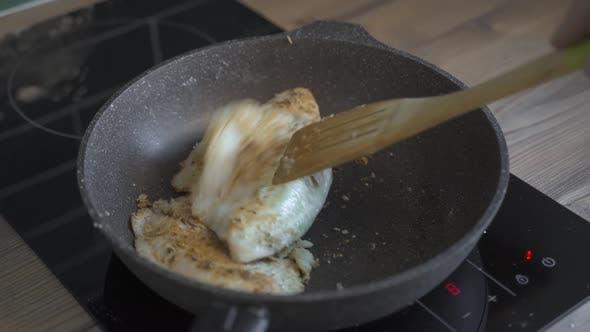 Chef Seasoning Spice Mackerel Fish. Slow Motion Seasoning Fried Fish On Barbecue. Man Sprinkling
