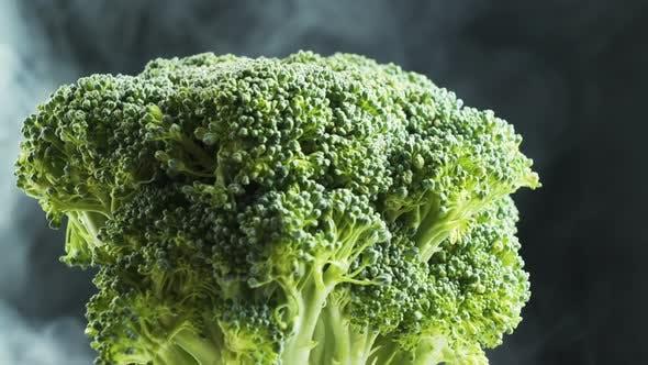 Thumbnail for Rotating Broccoli and smoke On Black Background