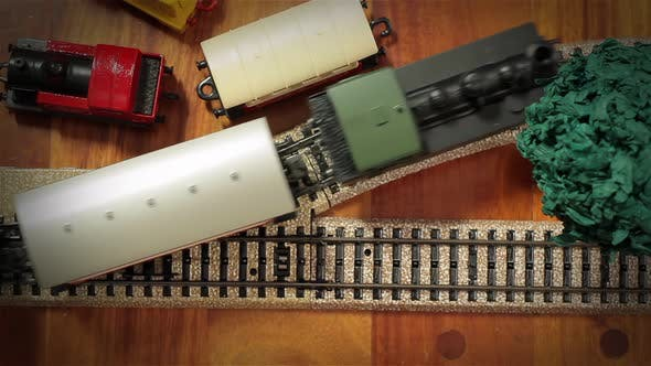 Steam Engine Locomotive with Wagons, Model Train. Top View. 4K Version.