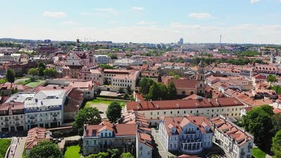 Aerial View Historical Landmarks In Vilnius, Lithuania