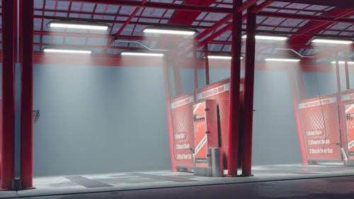Loopable view at the endless outdoor car wash. Self-service. Touchless. 4k HD