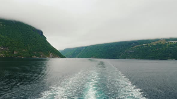 Thumbnail for View From the Stern of the Ship To the Picturesque Norwegian Fjord