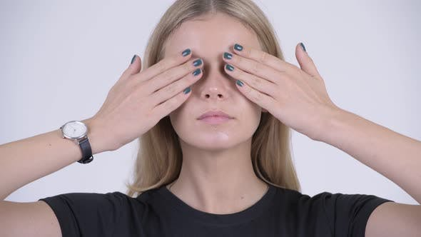 Thumbnail for Face of Young Beautiful Blonde Woman Covering Eyes As Three Wise Monkeys Concept