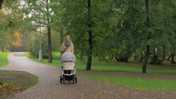Thumbnail for Woman Using Mobile When Walking with Baby in Autumn Park