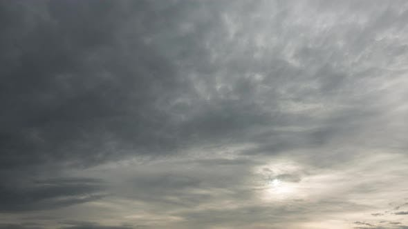 Cover Image for Time Lapse of Majestic Cloudy Sky with Sun Over Horizon. No Birds, No Flicker.