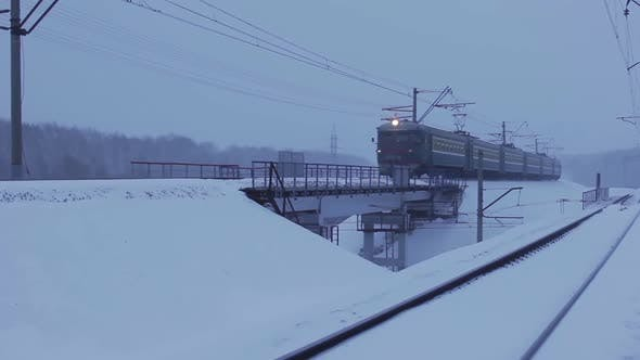 Freight Train in Movement in Winter