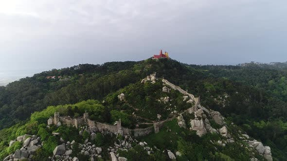 Thumbnail for Flying Over Medieval Castle and Palace of Pena, Sintra, Portugal