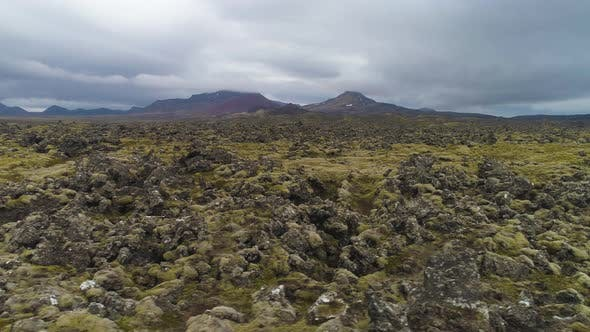 Lava Rock Formations. Iceland. Aerial View