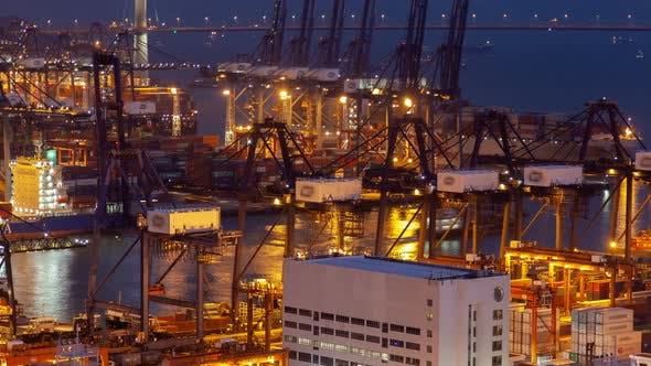 Thumbnail for Timelapse Illuminated Hong Kong Harbour with Gantry Cranes
