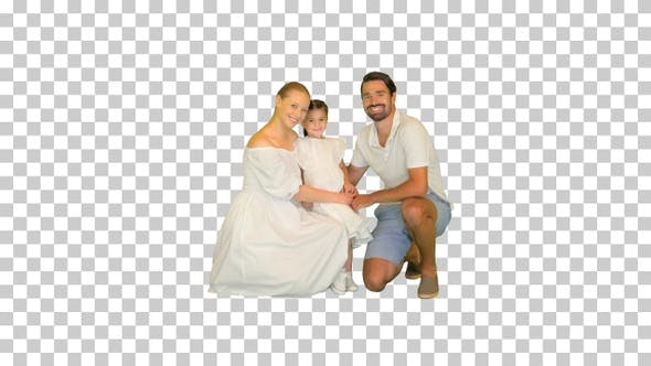 Adorable caucasian family woman and man, Alpha Channel