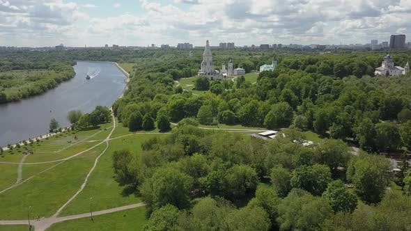 Thumbnail for Aerial View of Kolomenskoye with Church of the Ascension, Moscow