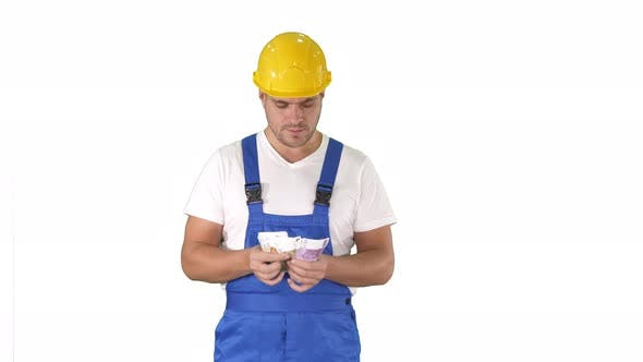Thumbnail for A Workman Excitedly Counting His Salary on White Background.