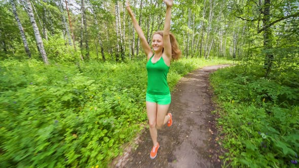 Thumbnail for Teenager Girl Jogging in Wood