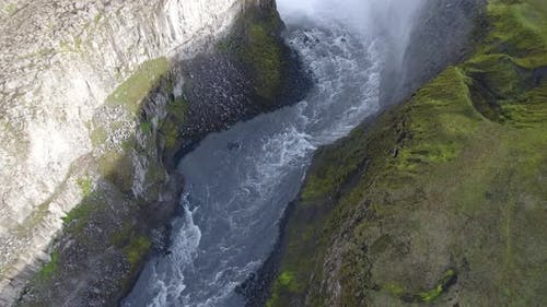 Dettifoss waterfall on a sunny day (Iceland)