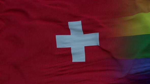 Waving National Flag of Switzerland and LGBT Rainbow Flag Background