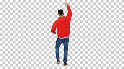 Casual Man Dancing in A Red Hoody, Alpha Channel