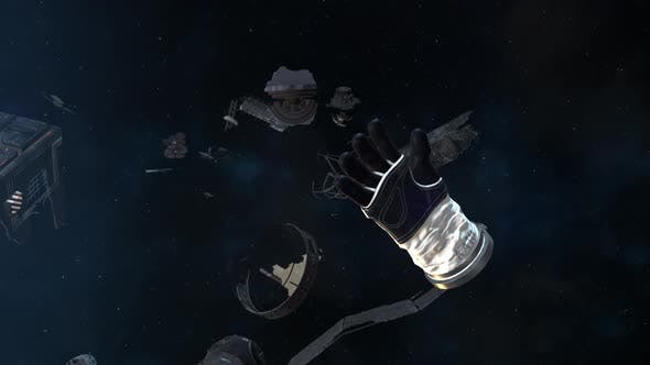 Thumbnail for Astronaut Glove and Debris Floating in Space