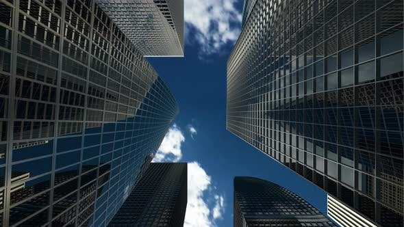 Buildings and Skyscrapers with Apartments and Offices for Financial Companies 4k