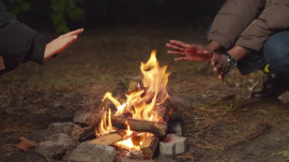 Diverse Tourists Warming Hands By Bonfire at Dusk