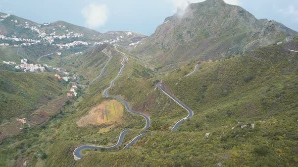 Thumbnail for Aerial View of Traffic on a Serpentine Road in Tenerife, Spain. Canary Mountains