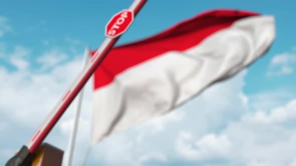 Thumbnail for Closed Boom Gate on the Indonesian Flag Background