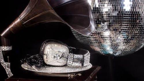 Diamant Kristalle Kopfhörer Grammophon Musik Party Club