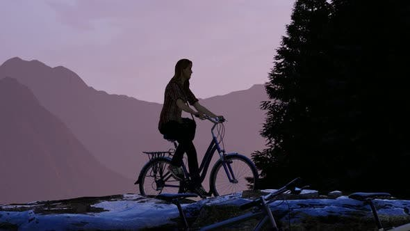 Thumbnail for Young Woman Doing Mountain Tour by Bicycle