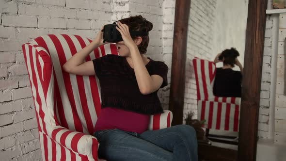 Thumbnail for Happy Woman with Virtual Reality Headset Glasses
