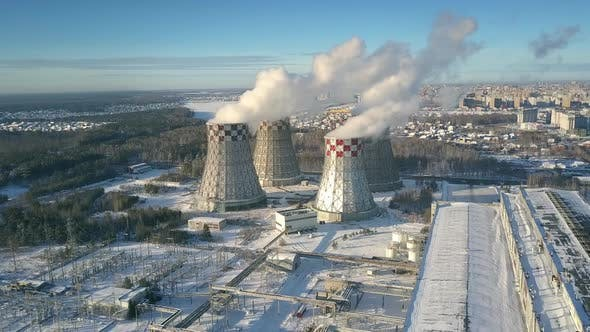 Thumbnail for Aerial View Heating Station with Cooling Towers in Winter
