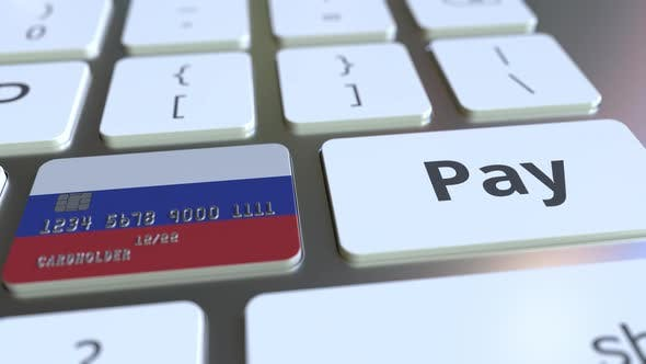 Thumbnail for Bank Card Featuring Flag of Russia As a Key on a Keyboard