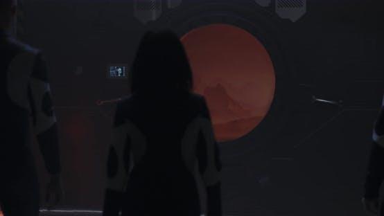 Thumbnail for Three Astronauts Walking To Mars Base Window