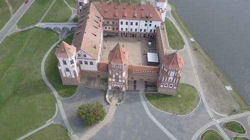 Mir Castle - an Architectural Masterpiece in the Style of Belarusian Gothic, Aerial Shot. Beautiful