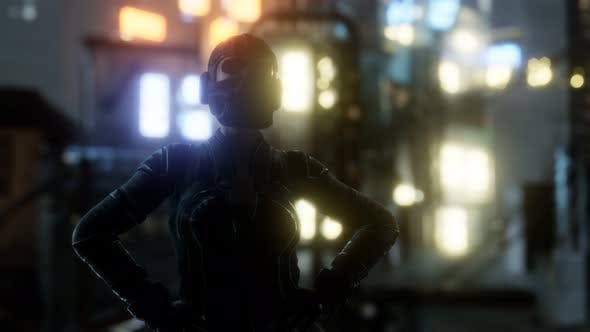 Thumbnail for Futuristic Cyberpunk Style Young Woman with Neon Bokeh Lights