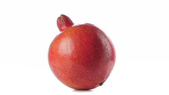 Thumbnail for One Red Ripe Whole Pomegranate. Closeup on White Background