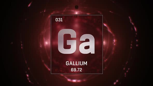 Gallium as Element 31 of the Periodic Table on Red Background