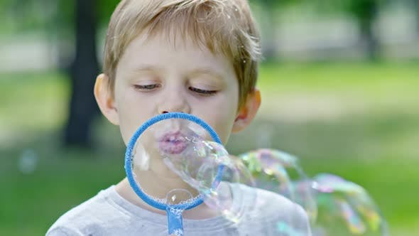 Cover Image for Little Boy Enjoying Blowing Bubbles