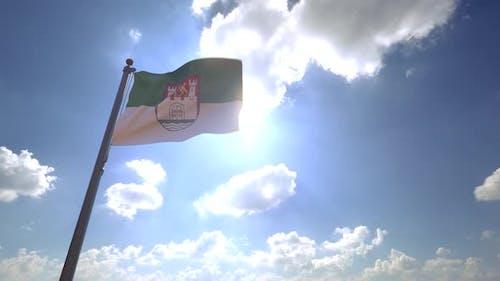 Wolfsburg City Flag (Germany) on a Flagpole V4 - 4K