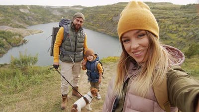 Happy Family Taking Selfie on Hike