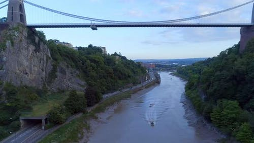 Rising Aerial View of Clifton Suspension Bridge and Bristol City