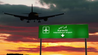 Plane landing in Karachi Pakistan airport